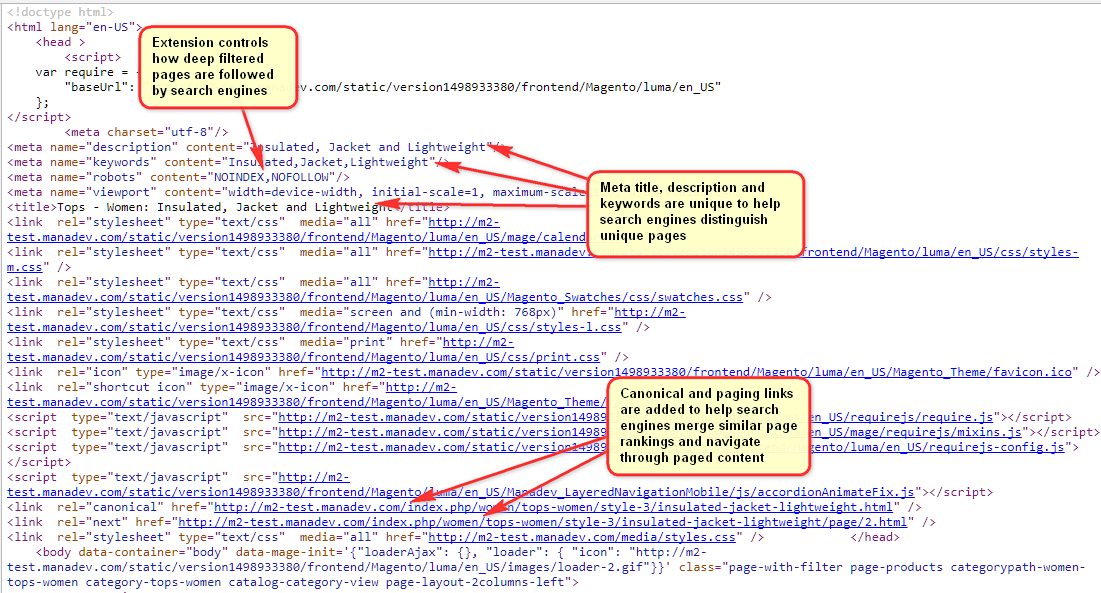 Search Engine Friendly (SEO) Layered Navigation, Paging, Sorting Links and  Page Titles for Magento 2