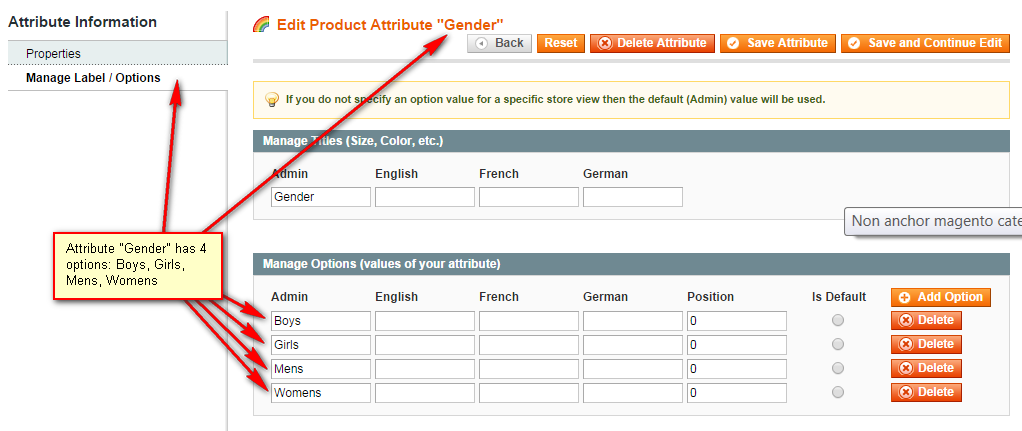 Magento attribute options window