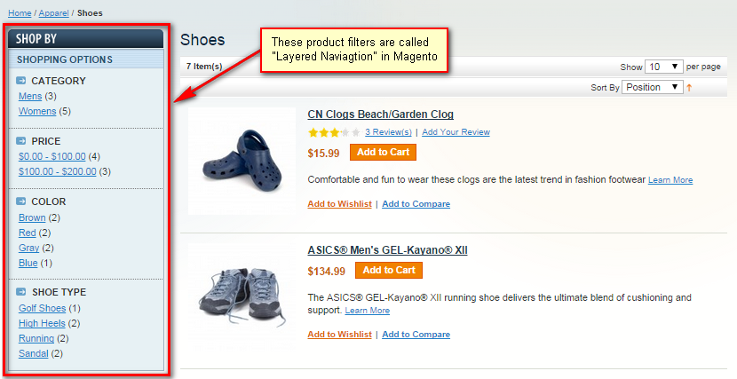 Layered Navigation in Magento