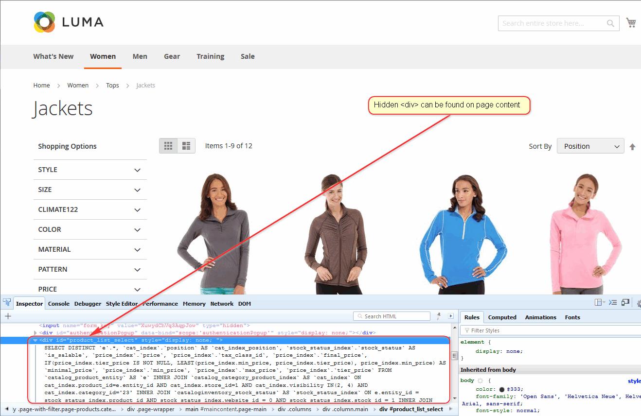 Hidden Product List SELECT