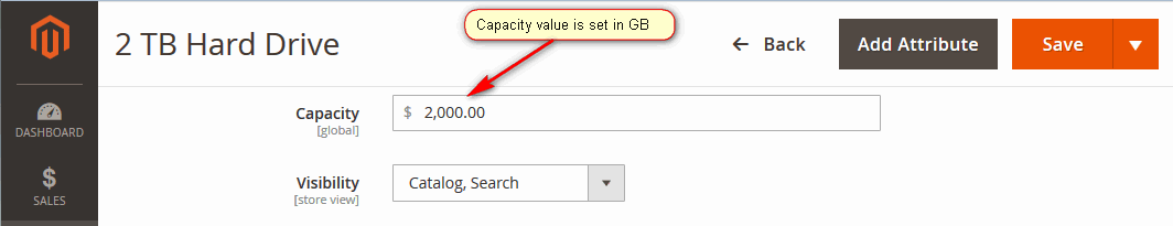 Attribute Value Is Set In Smaller Units