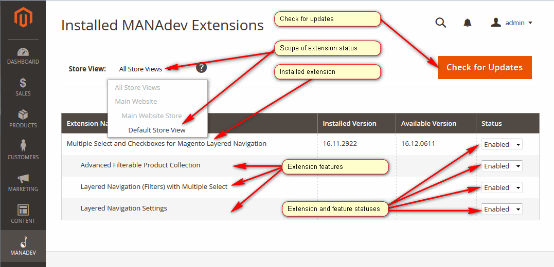 MANAdev Extension Management