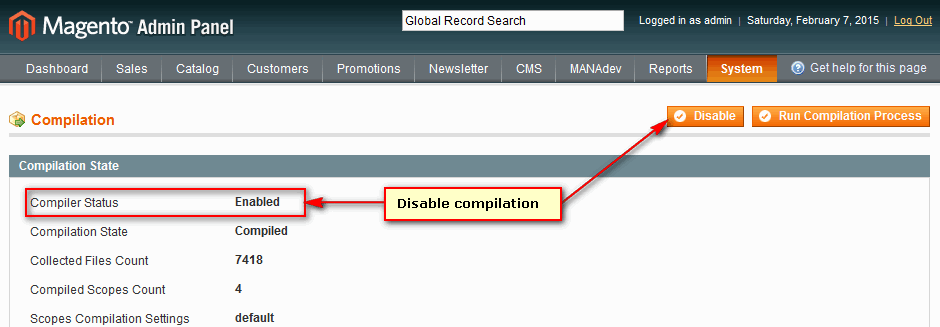 Disable Compilation in Magento