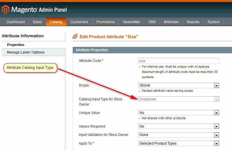 Attribute Catalog Input Type