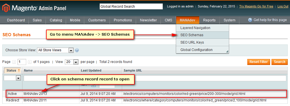 How to open SEO schema for editing