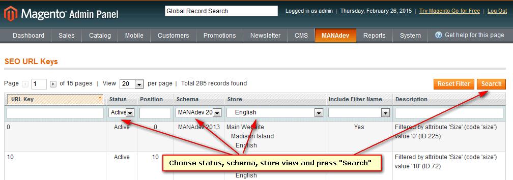 SEO URL Keys Filter