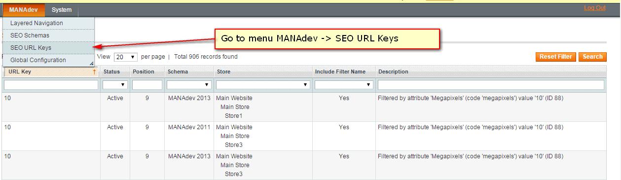 SEO URL Keys