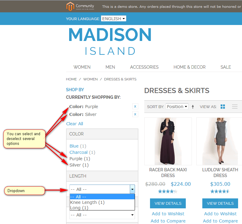 Drop-Down List for Magento Layered Navigation
