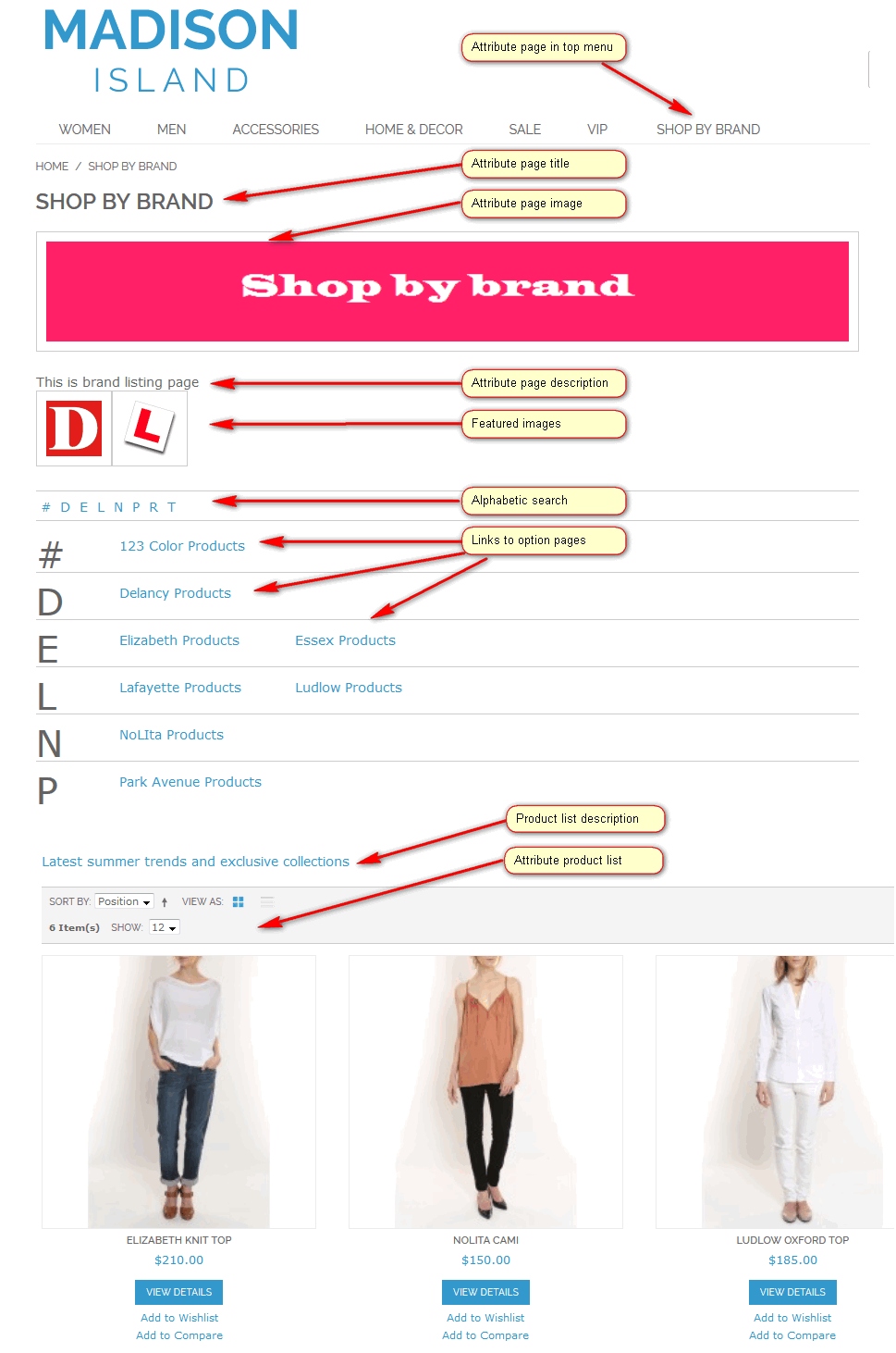 Shop By Brand Attribute Splash Pages - Attribute Page Layout
