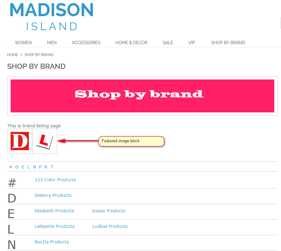Shop By Brand Attribute Splash Pages - Featured Image Block
