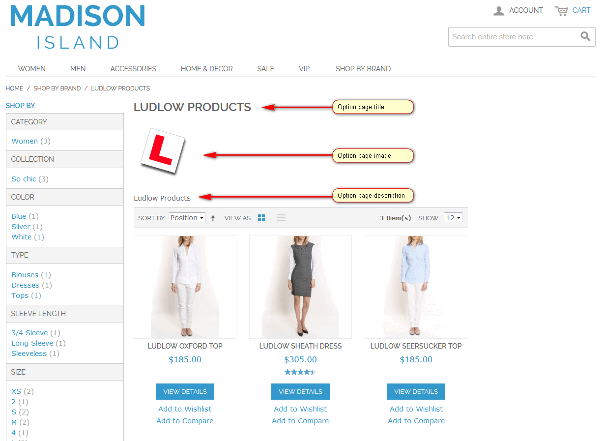 Shop By Brand Attribute Splash Pages - Option Page Layout