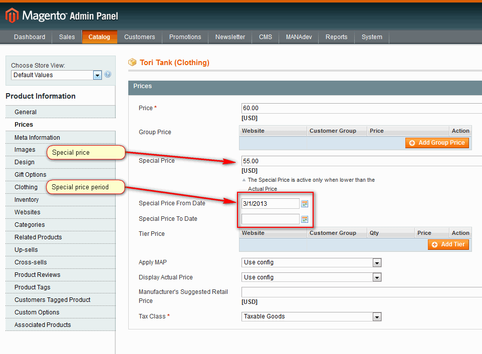 Product Special Price Settings