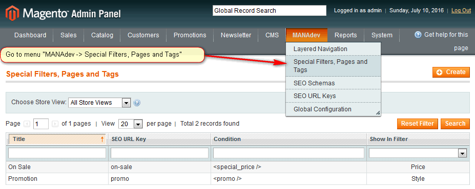Special Filters, Pages and Tags
